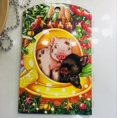 Доска разделочная деревянная Новогодняя декоративная Парочка Поросят