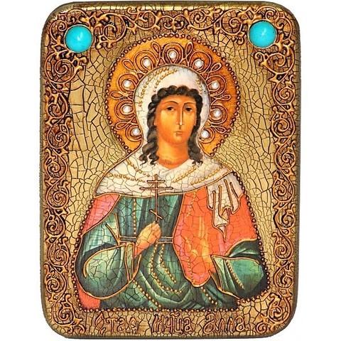 Инкрустированная икона Святая мученица Алла Готфская 20х15см на натуральном дереве, в подарочной коробке