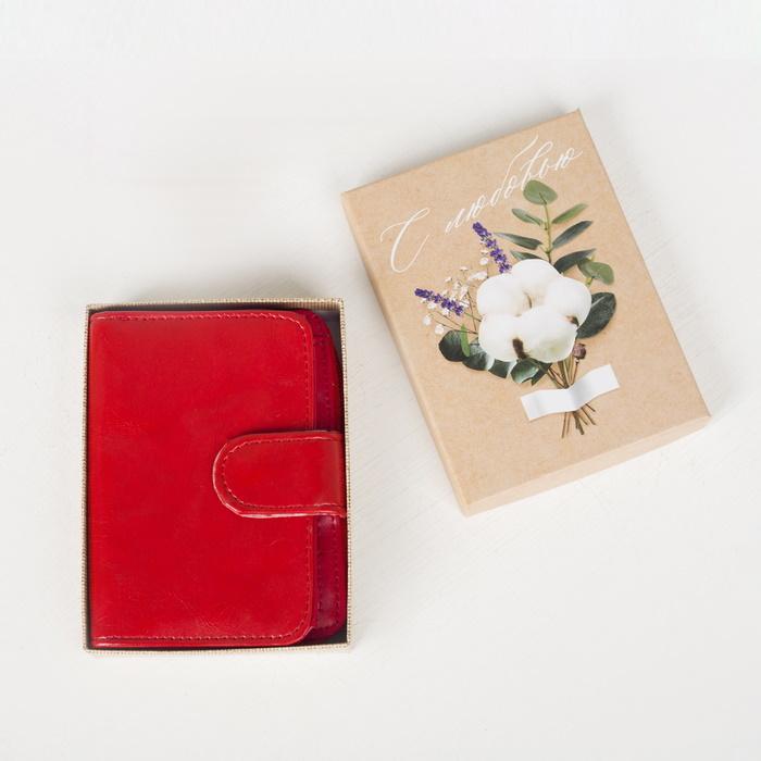 Кошелек Красный женский на молнии в подарочной коробке фото