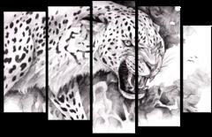 """Модульная картина """"Черно-белый зверь"""""""