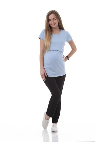 Футболка для беременных и кормящих 09962 светло-голубой