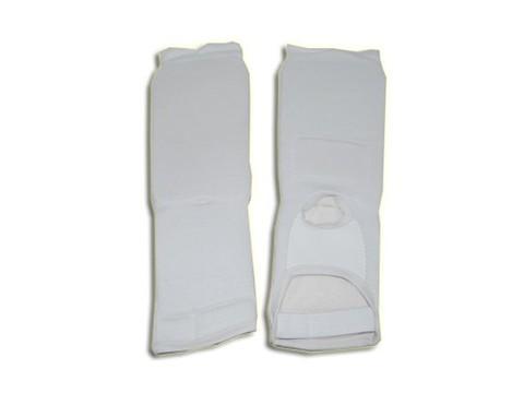 Защита ноги  (для единоборств, от колена до пальцев, хлопок с эластиком ,  поролон , цвет белый). Размер  M :(748-3-M):