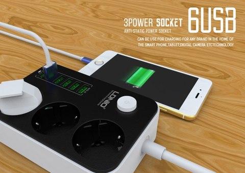 Удлинитель электрический LDNIO SE3631 Ldnio Power Socket 3 розетки 6 USB (SE3631) black