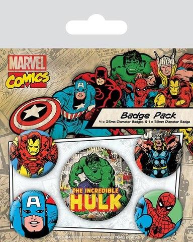 Набор значков «Marvel ретро (Халк)»