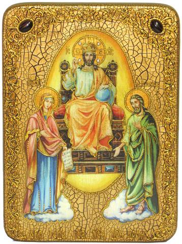 Инкрустированная икона Царь Царей 29х21см на натуральном дереве, в подарочной коробке
