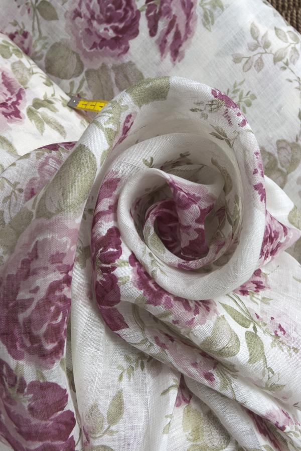 Натуральная льняная вуаль, рисунок розы 2