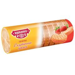 Печенье затяжное Яшкино с клубничным кремом 182 г