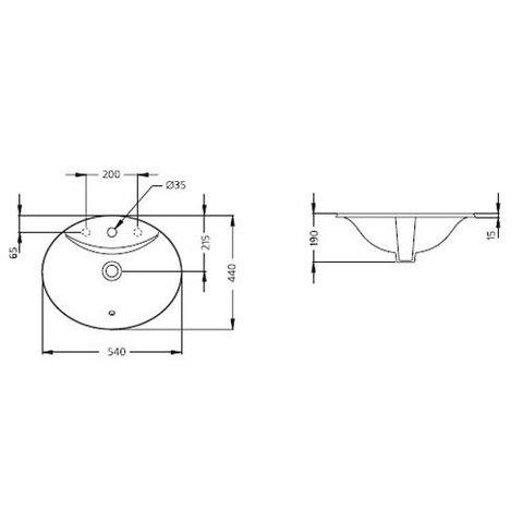 Раковина встраиваемая Ideal Standard Ocean 54x44 W306301 схема