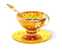"""Янтарная чайная чашечка (малая) в наборе из 3 предметов, серия """"Виноград"""""""