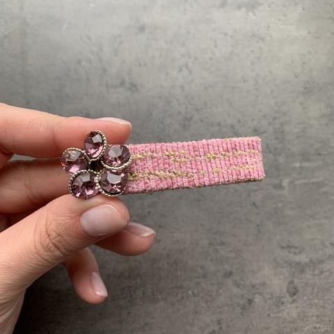Заколка клик-клак тканевая /розовая/