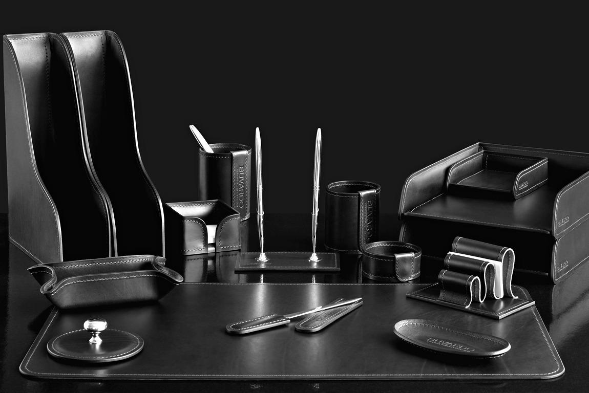 Органайзер черный настольный LUX 16 предметов из кожи Full Grain Black