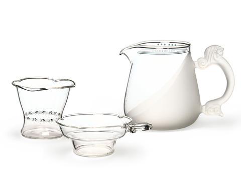 Набор из жаропрочного стекла для заваривания чая «Зима» с матовыми вставками. Интернет магазин чая