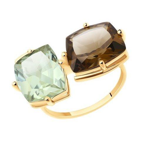 716017 - Кольцо из золота с аметистом и раухтопазом