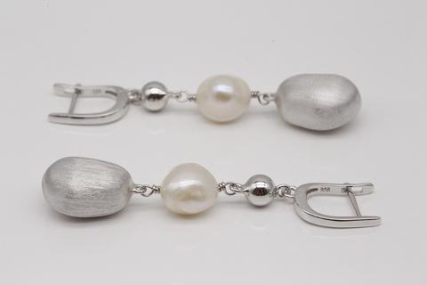 Серьги из серебра с жемчугом висячие длинные SE2201