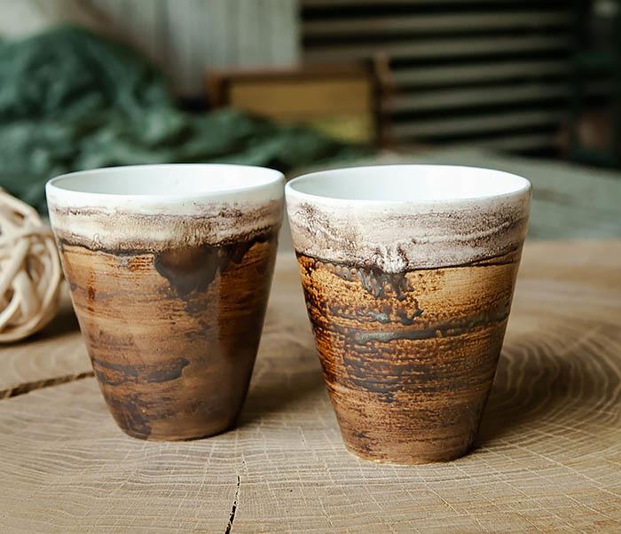CUP106-2 Стакан из керамики в глазури коричневого цвета фото 03