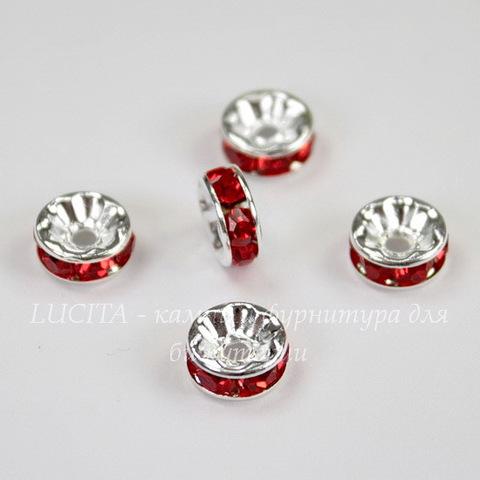 Бусина - рондель 8х4 мм с красными фианитами (цвет - серебро), 5 штук