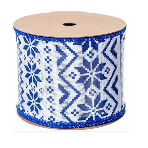 Лента декоративная с узором (размер:60мм х 3м) цвет: белый/синий