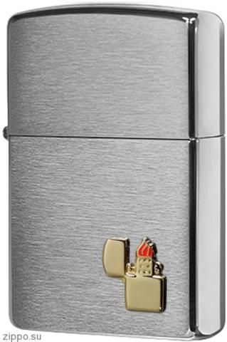 Зажигалка 200 Zippo Lighter Emblem Brushed Chrome