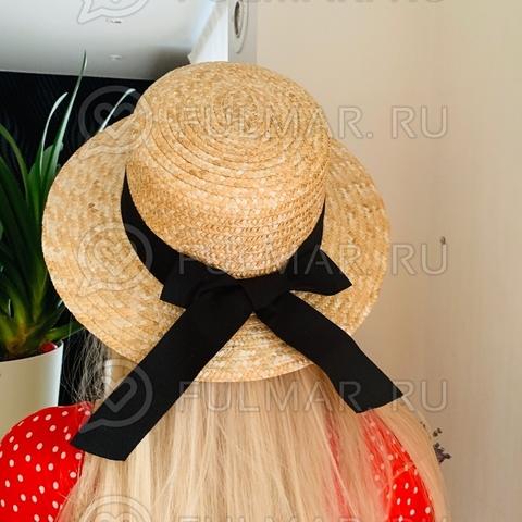 Классическая женская шляпа канотье соломенная с черной лентой