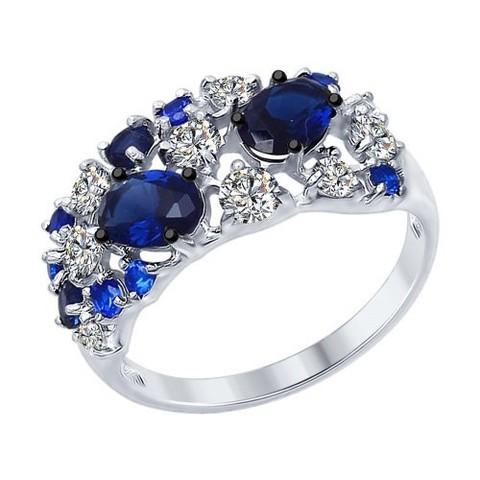 Роскошное кольцо из серебра с синими фианитами от SOKOLOV