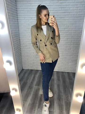 бежевый пиджак в клетку женский купить