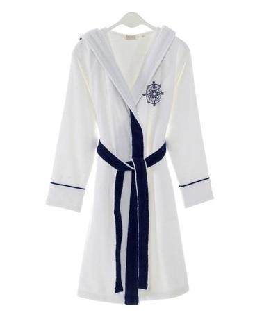 MARINE LADY  белый  женский халат с капюшоном Soft Cotton (Турция)