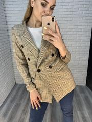 бежевый пиджак в клетку женский nadya