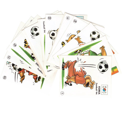 Вкладыш-наклейка Football 94 Chupa Chups. Футбол. Мишки. (1-24) Набор 17 шт.
