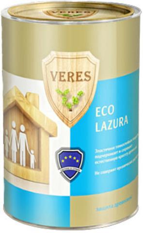 VERES ECO LAZURA/ВЕРЕС ЭКО ЛАЗУРЬ шелковисто-матовая декоративно-защитная пропитка для древесины на водной основе