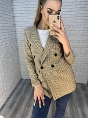 бежевый пиджак в клетку женский недорого