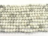 Нить Бисера из говлита белого, шар гладкий 3мм