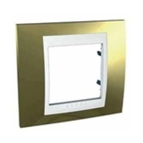 Рамка на 1 пост. Цвет Золото/Белый. Schneider electric Unica Хамелеон. MGU66.002.804