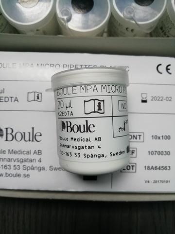 1070039 Капилляры 20мкл End-to-end (энд-ту-энд) 100штуп Boule Medical AB, SwedenБоуль Медикал АБ, Швеция
