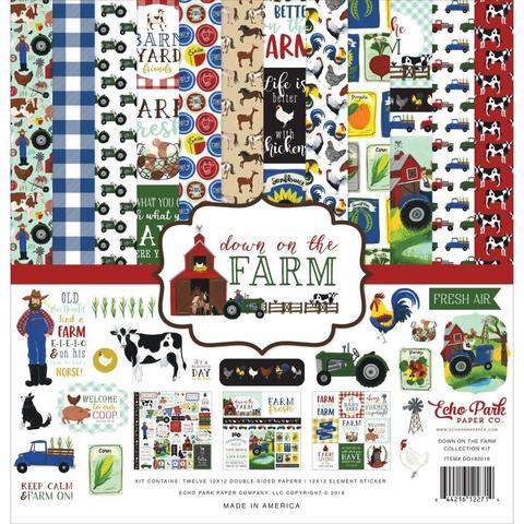 Набор двусторонней бумаги 30х30см со стикерами Echo Park Collection Kit -Down Of The Farm