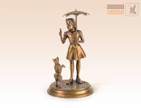 статуэтка Девочка под зонтиком с собакой