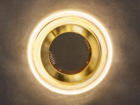 Светильник встраеваемый 8028-3W-GO Золото+диодная подсветка