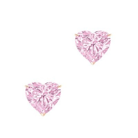 Пусеты HEART из серебра с розовыми цирконами в стиле Ko Jewelry 4863