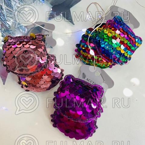 Резинки Котики в двусторонних пайетках меняют цвет набор 6 штук (размер 4,5х3 см)