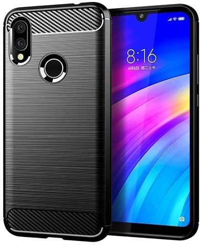 Чехол Xiaomi Redmi 7 (Redmi Y3) цвет Black (черный), серия Carbon, Caseport