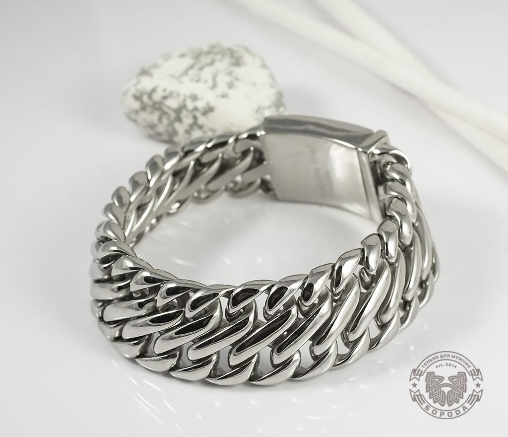 BM335 Очень тяжелый браслет - цепь из ювелирной стали на удобной застежке (23 см)