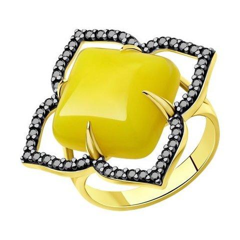 83020094 -  Кольцо из золочёного серебра с фианитами и синтетическими янтарями