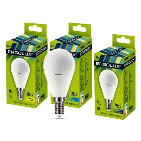 Лампа Ergolux LED-G45-9W-E14-4K шар (холодный свет)
