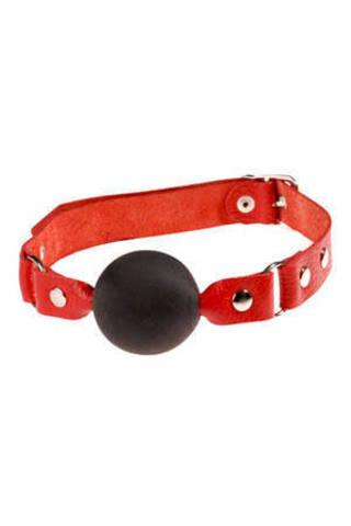 Чёрный кляп-шар с красным ремешком