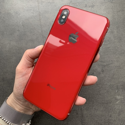 Чехол iPhone XS MAX Glass Silicone Case Logo /red/