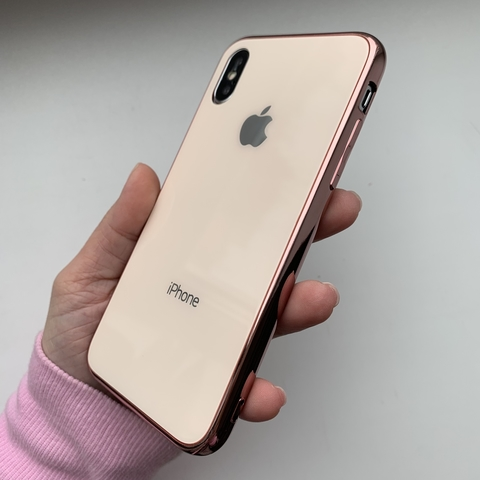 Чехол iPhone XS MAX Glass Case Logo /rose gold/