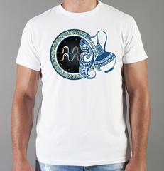 Футболка с принтом Знаки Зодиака, Водолей (Гороскоп, horoscope) белая 0018