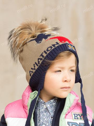 Зимняя шапка для мальчика Mialt Стрижи коричневая