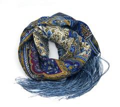 Шарф голубых оттенков в Русском стиле