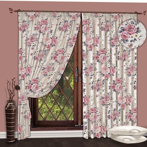 Комплект штор Пионы розовый