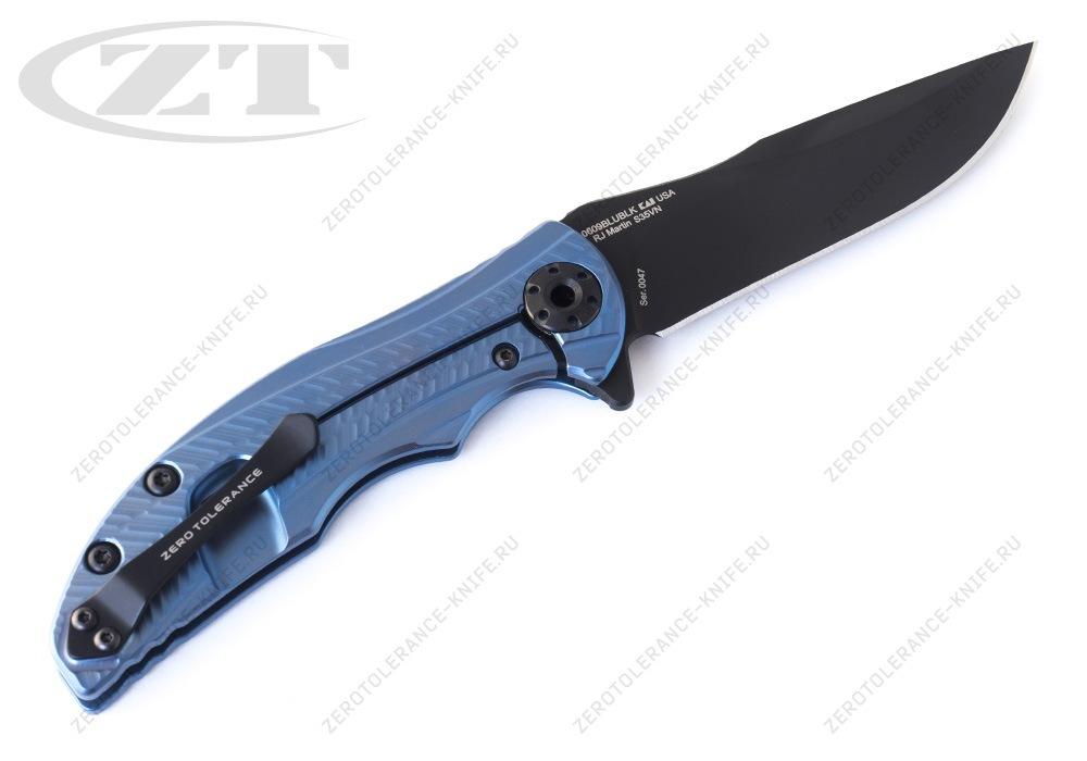 Нож Zero Tolerance 0609BLUBLK RJ Martin - фотография